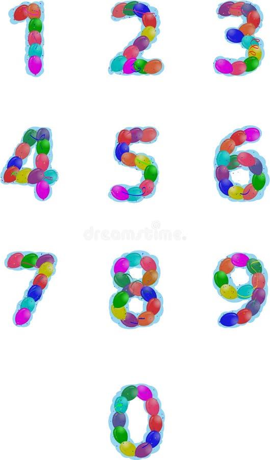 Il partito balloons i numeri royalty illustrazione gratis