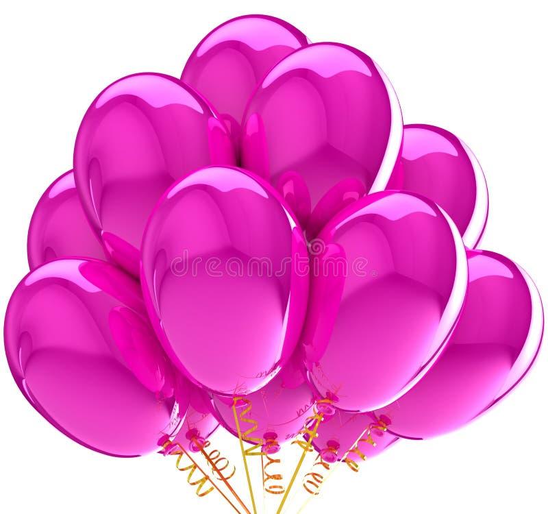 Il partito balloons il colore rosa colorato traslucido. illustrazione di stock