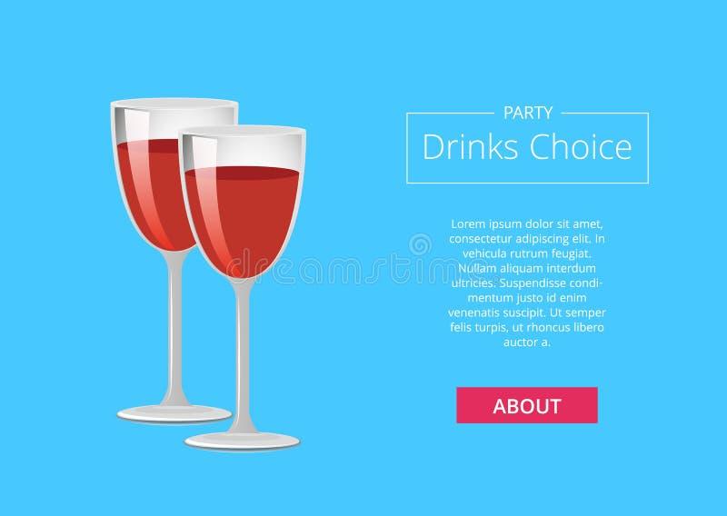 Il partito beve i vetri Choice del manifesto di web di vino rosso illustrazione di stock
