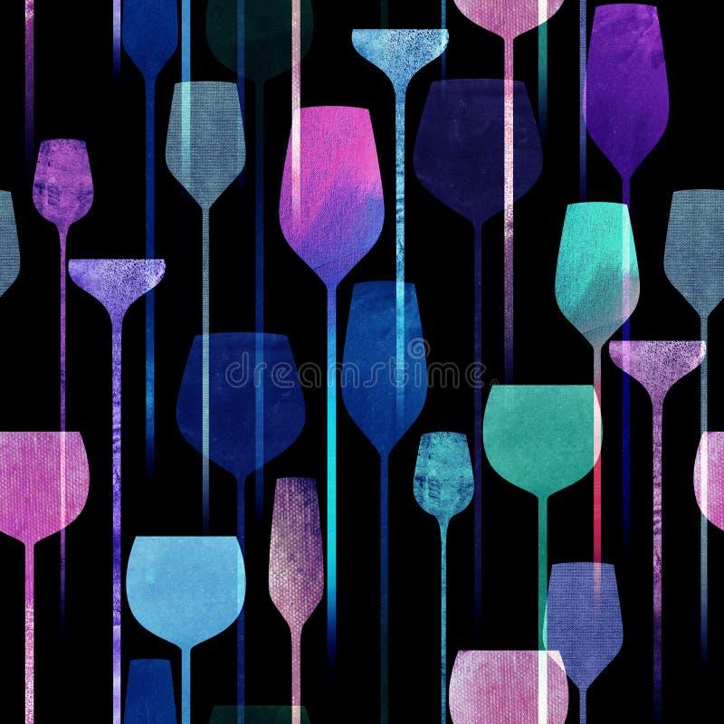 Il partito beve il modello senza cuciture strutturato illustrazione di stock
