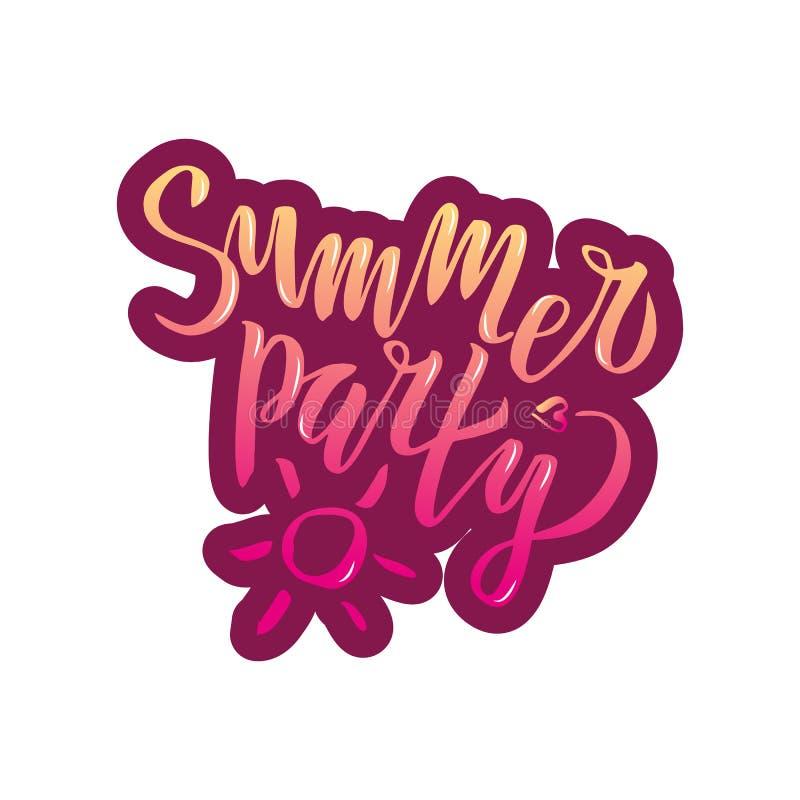Il partito dell'estate che segna la calligrafia con lettere scritta a mano di pendenza, spazzola ha dipinto le lettere su fondo b illustrazione vettoriale