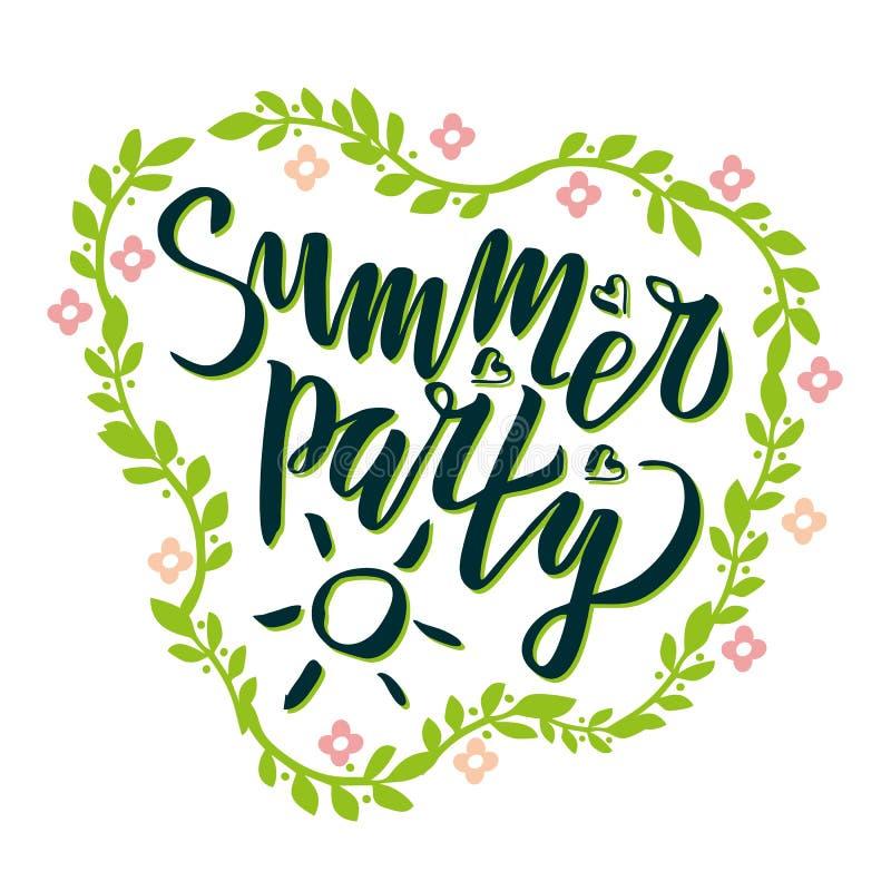 Il partito dell'estate che segna la calligrafia con lettere scritta a mano, spazzola ha dipinto le lettere con il modello floreal illustrazione di stock