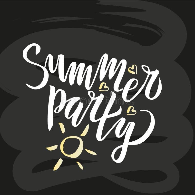Il partito dell'estate che segna la calligrafia con lettere scritta a mano, spazzola ha dipinto le lettere sul fondo di c o illustrazione vettoriale