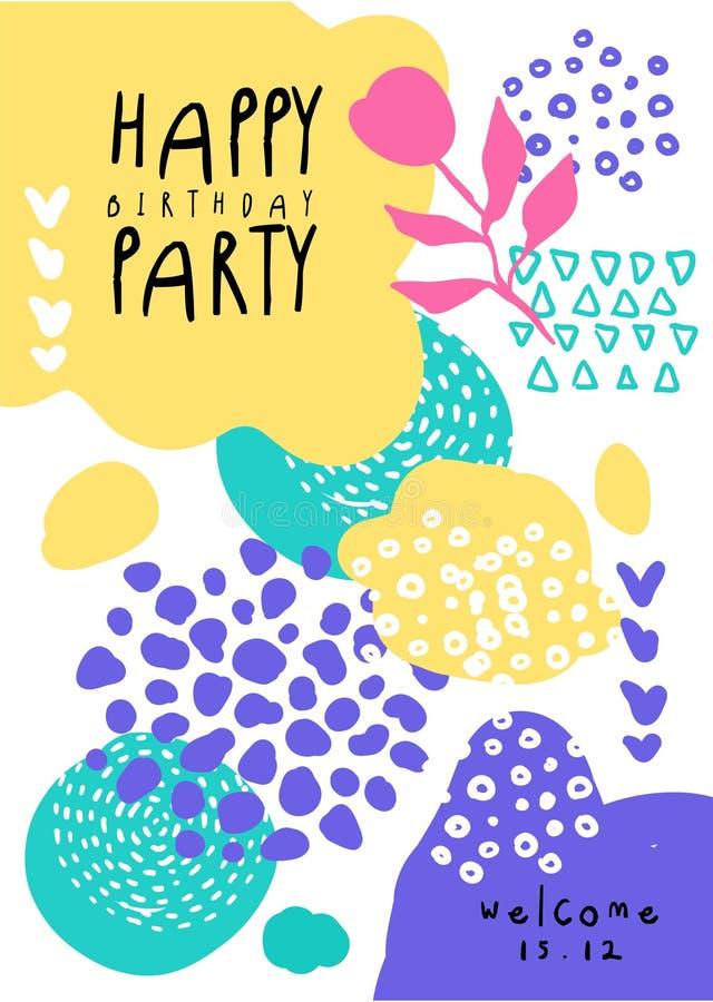 Il partito di buon compleanno, modello variopinto con la data può essere usato per il cartello, l'invito, il manifesto, l'insegna illustrazione di stock