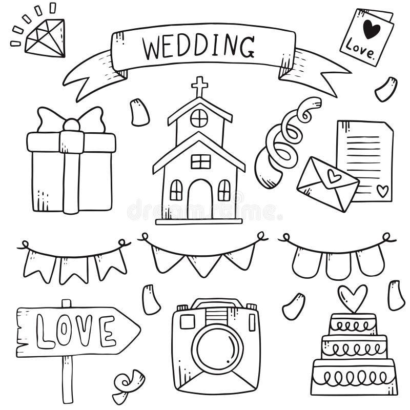 07-09-010 il partito disegnato a mano scarabocchia l'illustrazione di vettore del modello del fondo dell'elemento di nozze royalty illustrazione gratis