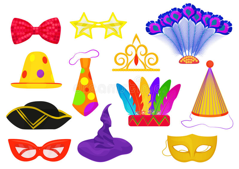 Il partito tematico di carnevale di travestimento attribuisce gli oggetti piani messi illustrazione vettoriale