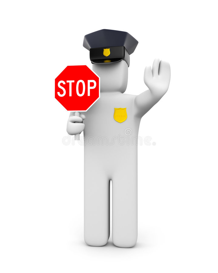 Il passaggio è vietato. Il poliziotto vieta royalty illustrazione gratis