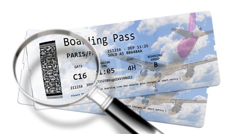 Il passaggio di imbarco di linea aerea ettichetta - i pericoli del furto di identit? agli aeroporti - l'immagine di concetto fotografia stock libera da diritti