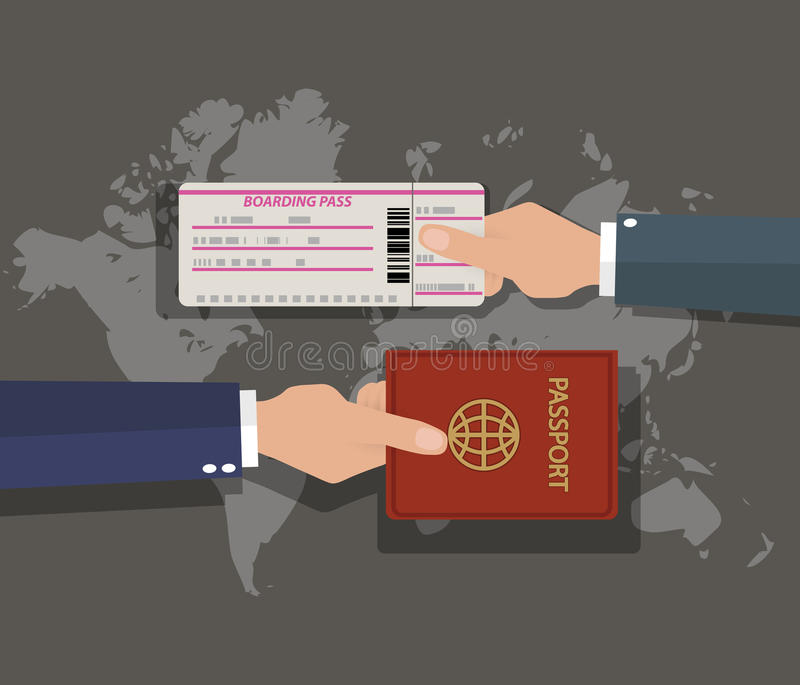 Il passaporto con l'imbarco passa sopra la mappa di mondo illustrazione vettoriale