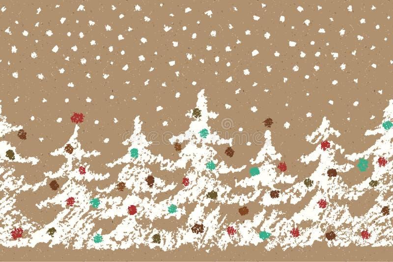 Il pastello gradisce il modello senza cuciture dell'albero di Buon Natale del disegno della mano del ` s del bambino con neve di  illustrazione di stock