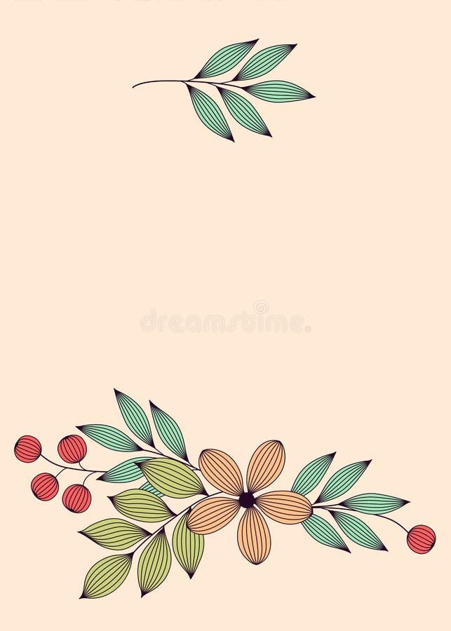 Il pastello ha colorato le foglie ed i fiori eleganti con i modelli floreali della carta delle vene, vettore royalty illustrazione gratis
