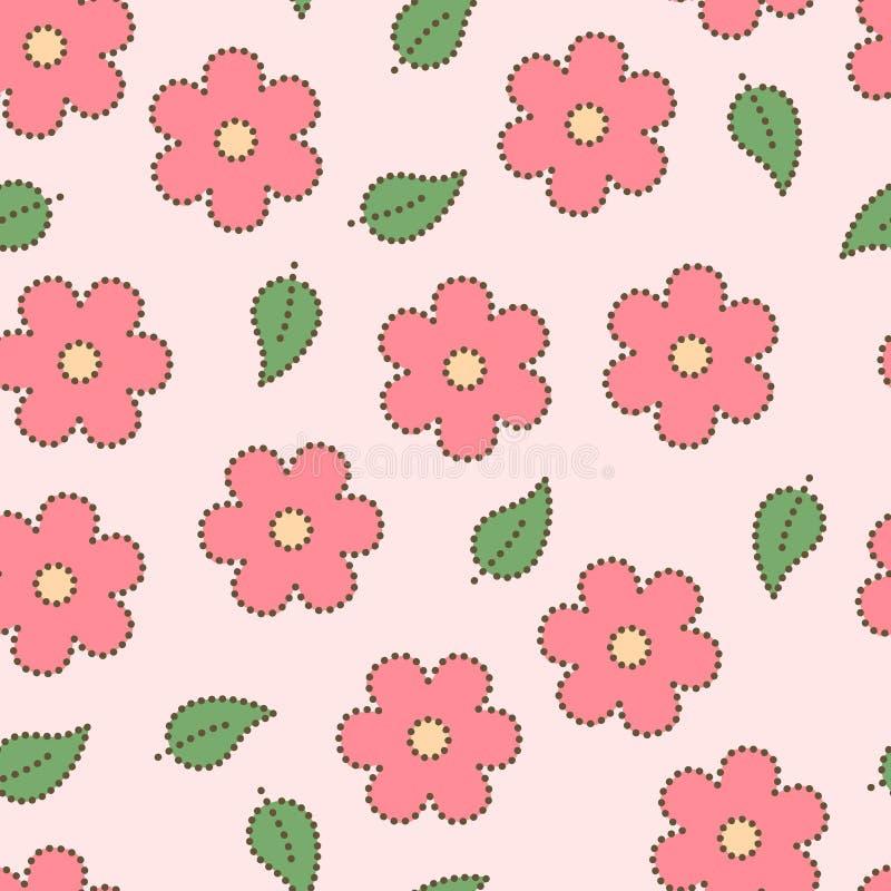 Il pastello ha colorato il rosa doted fiori di sakura e foglie modello senza cuciture, vettore illustrazione vettoriale