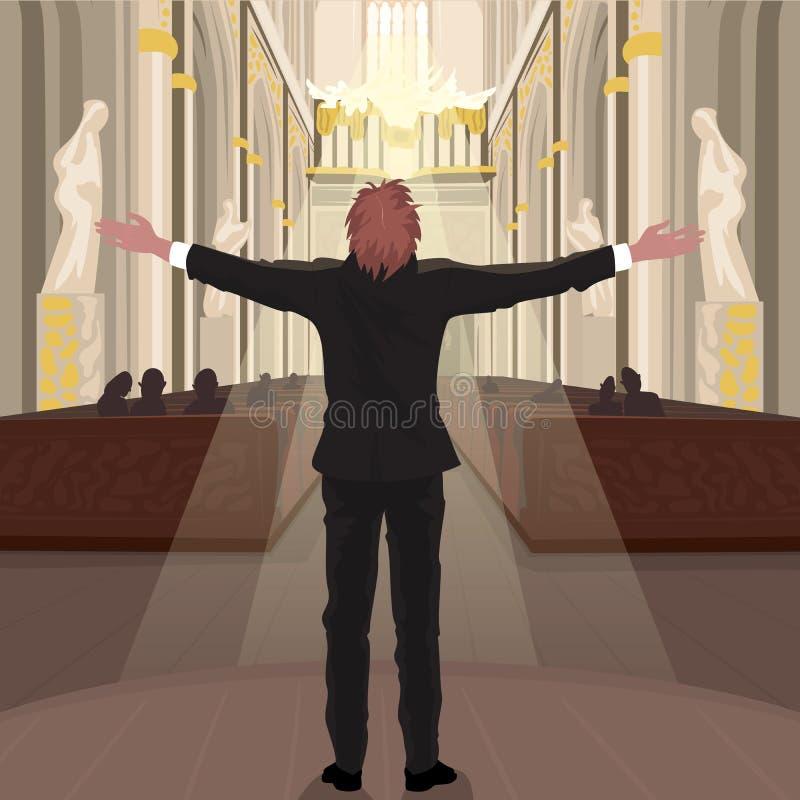 Il pastore in chiesa chiama i parrocchiani per pregare illustrazione vettoriale
