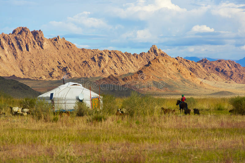 Il pastore non identificato monta il cavallo fotografie stock libere da diritti