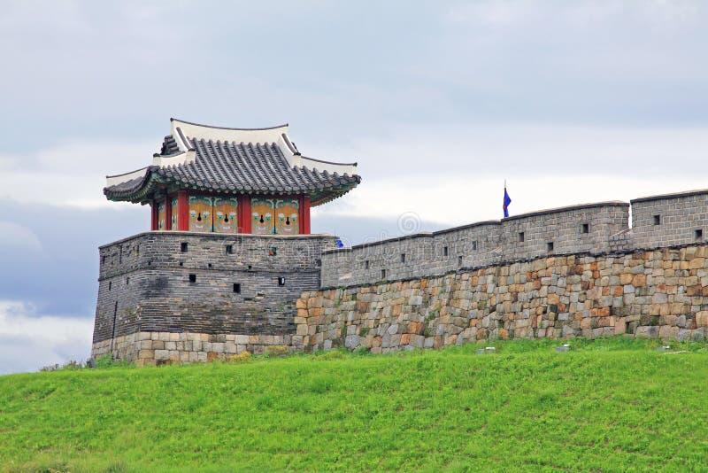 """Il patrimonio mondiale dell'Unesco della Corea colloca fortezza di Hwaseong del †"""" fotografia stock libera da diritti"""