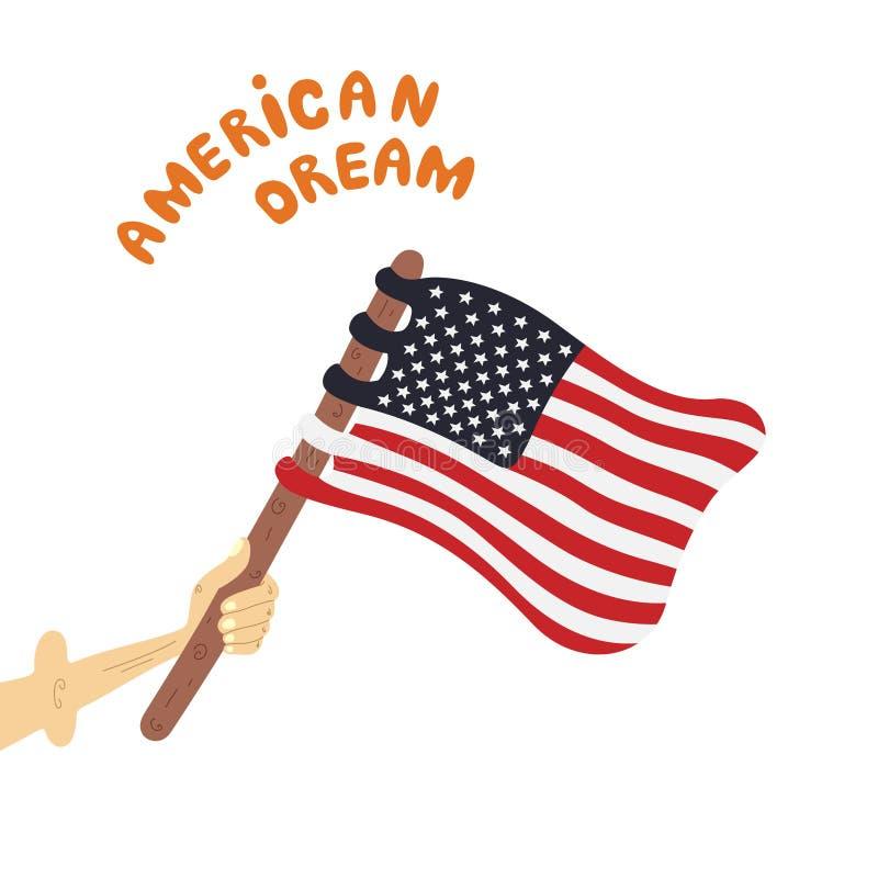 Il patriota tiene la bandiera degli Stati Uniti royalty illustrazione gratis