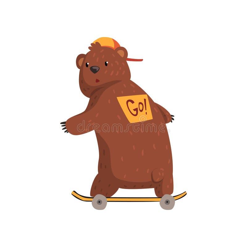 Il pattino del ob di guida dell'orso del fumetto, autoadesivo sul suo indietro con il segno va Animale selvatico in cappuccio ara illustrazione vettoriale