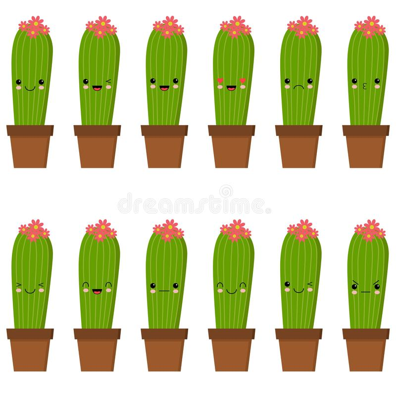 Il pav? dei caratteri del cactus, cactus divertenti con differenti emozioni vector le illustrazioni su un fondo bianco royalty illustrazione gratis