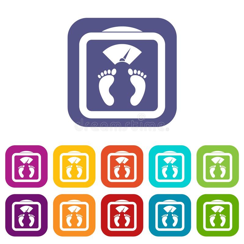 Il pavimento riporta in scala le icone messe illustrazione di stock