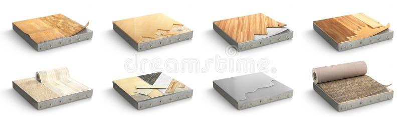 Il pavimento scrive il rivestimento Installazione della pavimentazione Metta dei pezzi di dif illustrazione di stock
