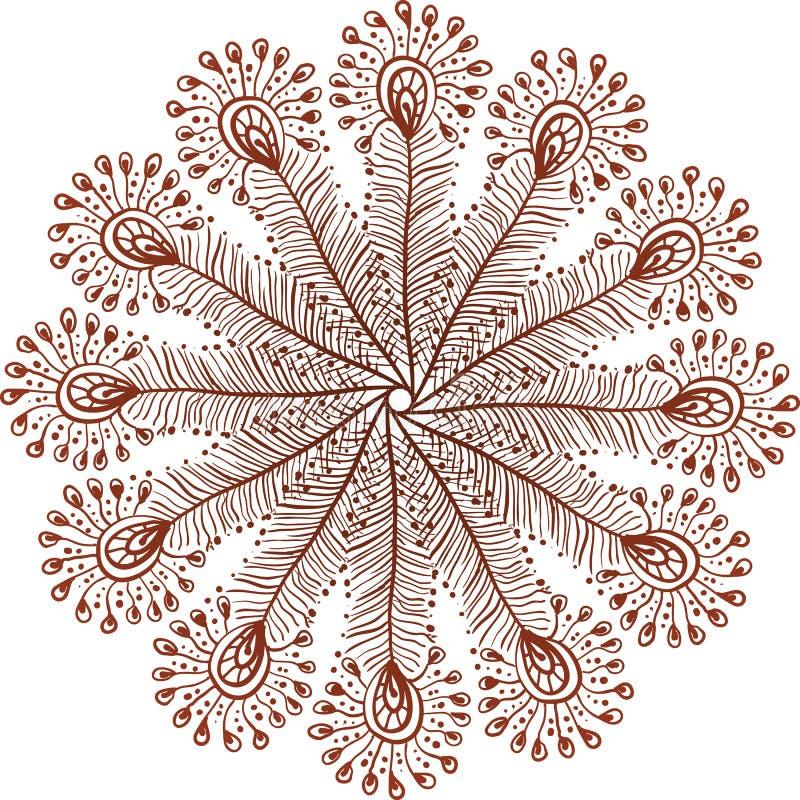 Il pavone di scarabocchio di vettore di colori del hennè mette le piume al cerchio illustrazione vettoriale