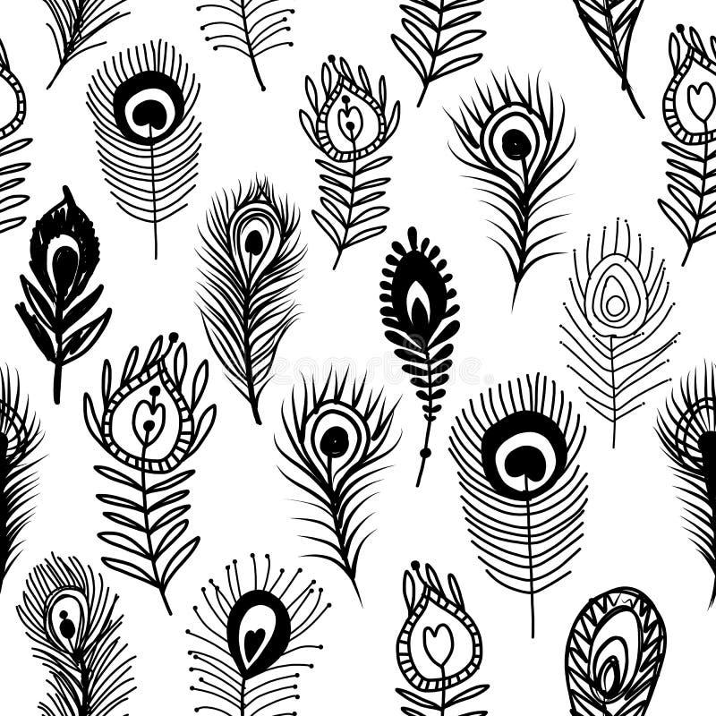 Il pavone mette le piume a, modello senza cuciture per la vostra progettazione royalty illustrazione gratis