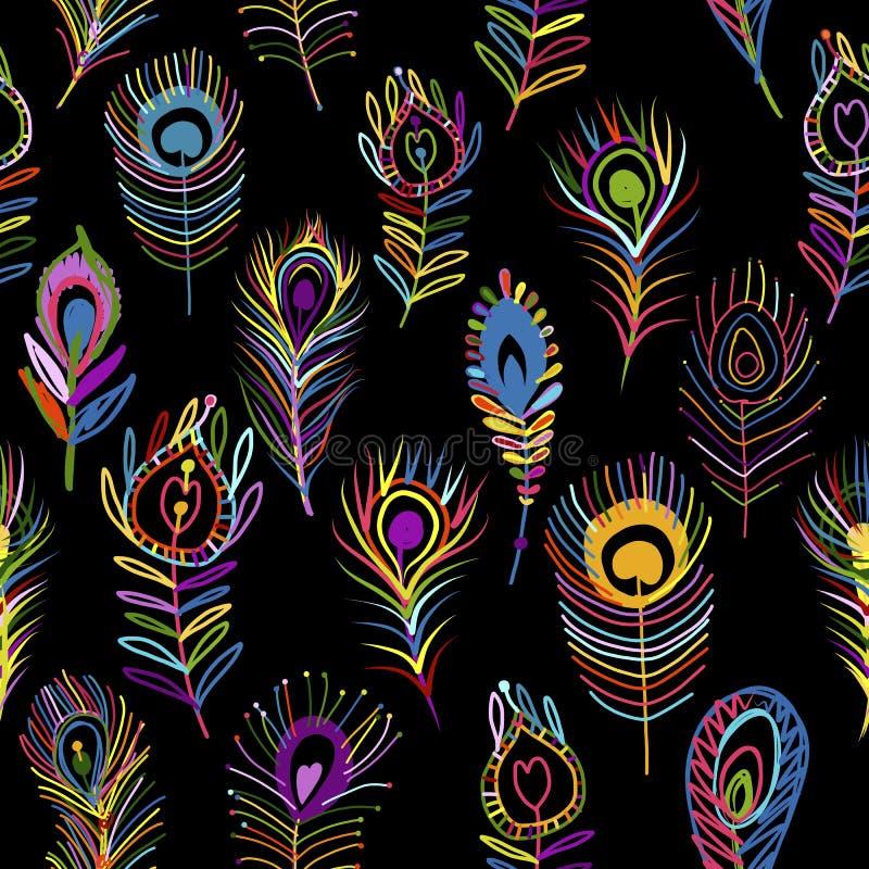 Il pavone mette le piume a, modello senza cuciture per la vostra progettazione illustrazione di stock