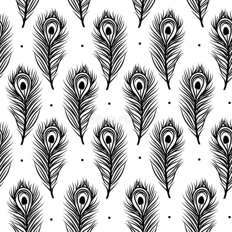 Il pavone mette le piume a, modello senza cuciture per la vostra progettazione illustrazione vettoriale
