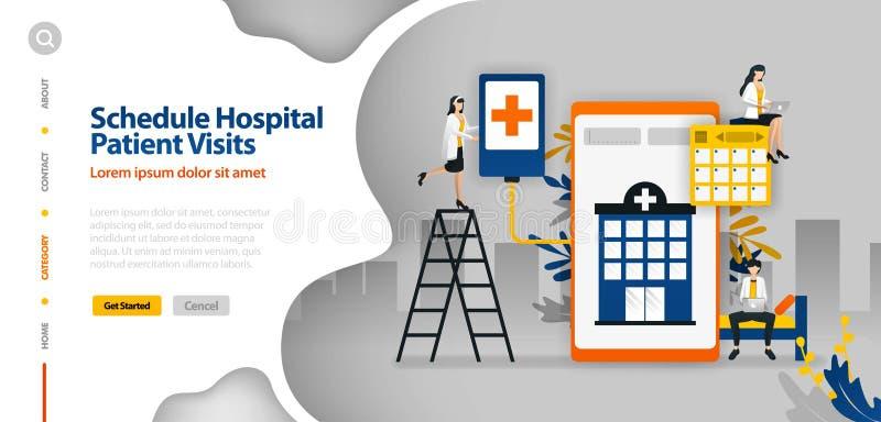 Il paziente ricoverato visita il programma, l'ospedale che programma, l'applicazione di pianificazione dell'ospedale il concetto  illustrazione vettoriale