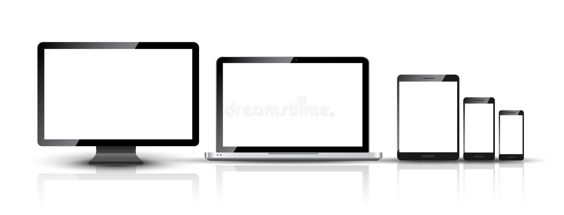 Il pc del monitor, dello smartphone, del computer portatile e della compressa del computer progetta Insieme digitale astuto del d illustrazione vettoriale