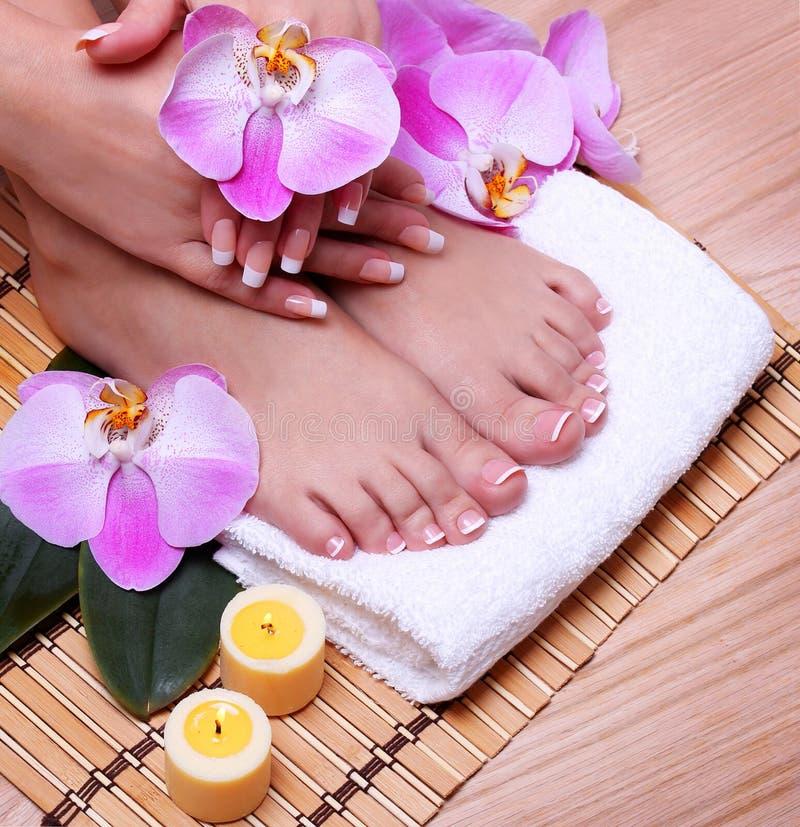 Il pedicure con l'orchidea rosa fiorisce su fondo di legno fotografie stock