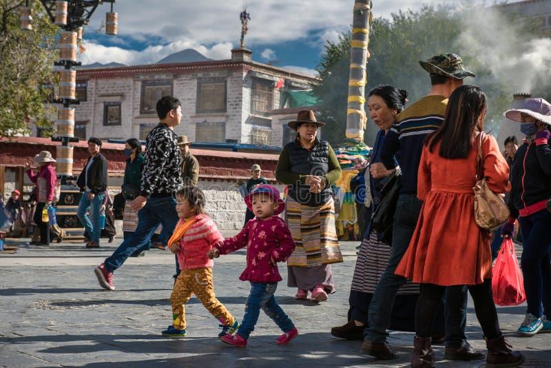 Il pellegrinaggio del tempio di Jokhang immagine stock libera da diritti