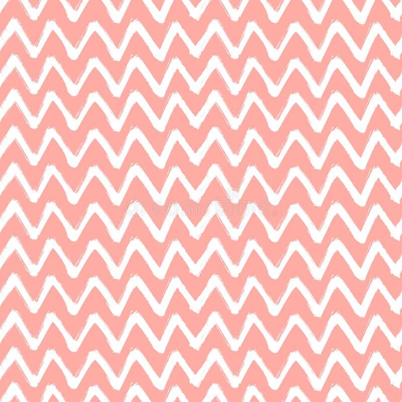 Il pennello di zigzag di Chevron segna il modello senza cuciture Fondo rosa e bianco di lerciume astratto di vettore illustrazione di stock
