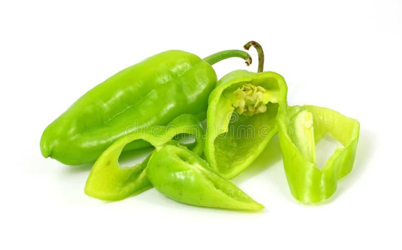Il pepe verde caldo affetta i semi immagine stock libera da diritti