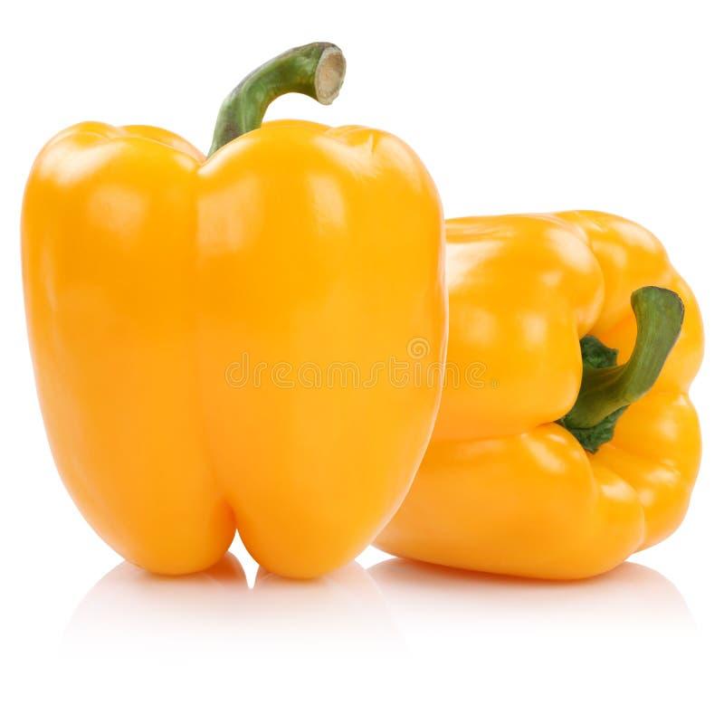Il peperone dolce pepa il giallo delle paprica della paprica isolato su bianco fotografia stock