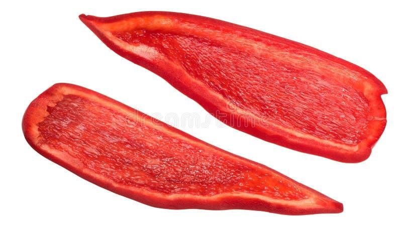 Il peperone dolce rosso collega le fette fotografia stock