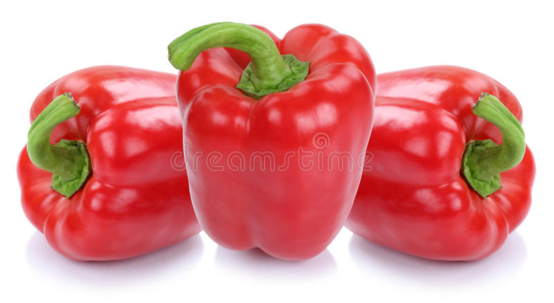 Il peperone dolce rosso pepa l'alimento di verdure delle paprica della paprica isolato fotografie stock libere da diritti