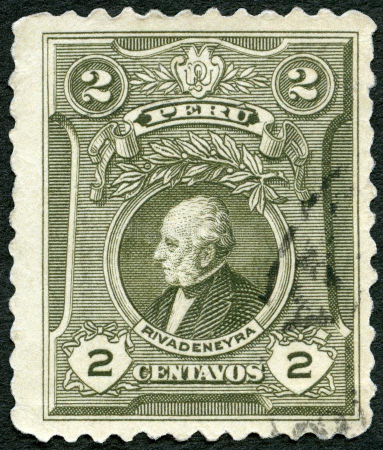Il PERÙ - 1924: mostra il ritratto di Jose Tejada Rivadeneyra fotografia stock libera da diritti
