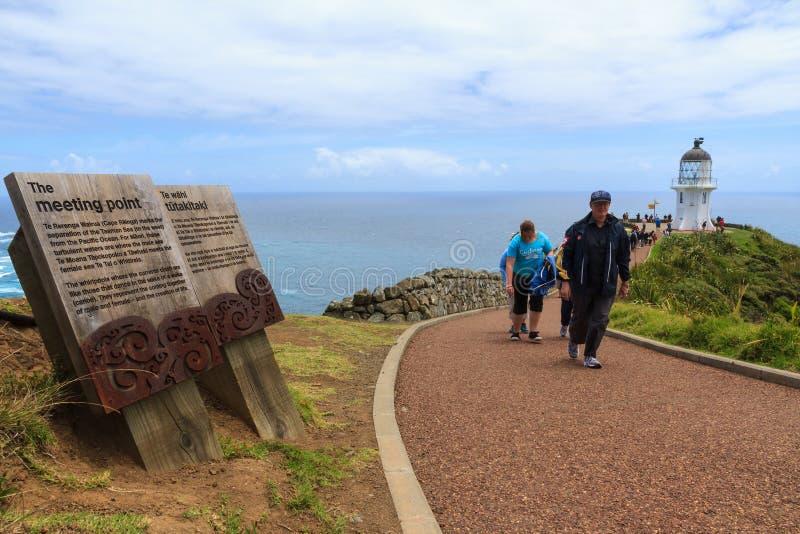 Il percorso al faro iconico di Reinga del capo, Northland, Nuova Zelanda fotografia stock