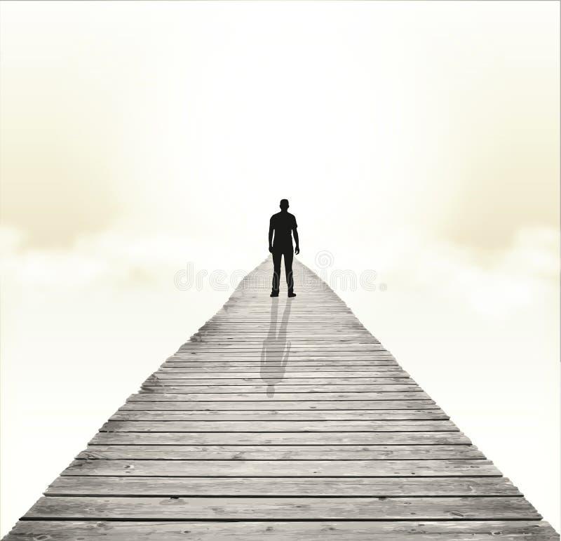 Il percorso allo sconosciuto, destino, percorso, ha perso, rinascita illustrazione di stock