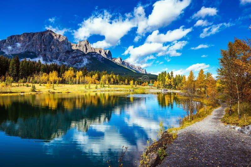 Il percorso circonda il lago fotografia stock