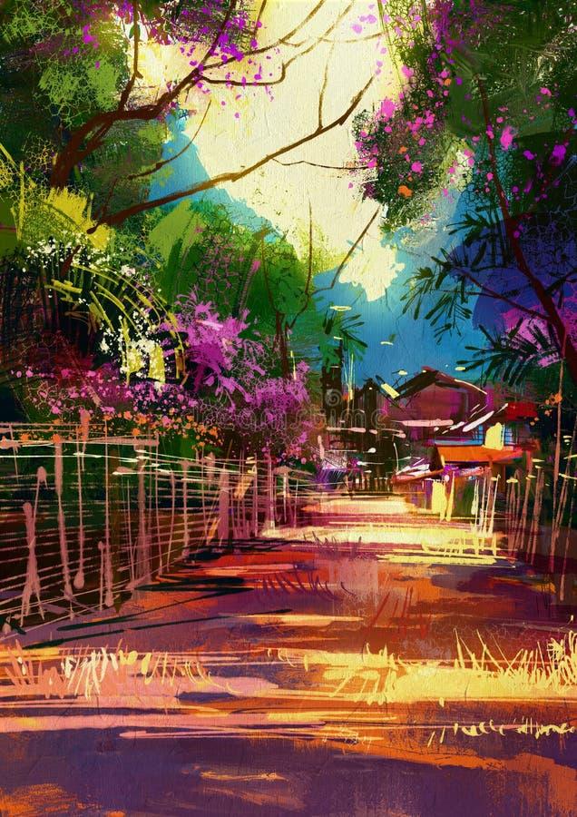 Il percorso conduce al villaggio del paese in primavera illustrazione di stock