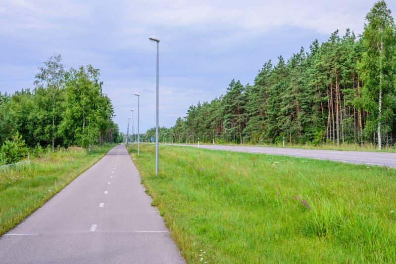 Il percorso della bici e della strada asfaltata fotografia stock