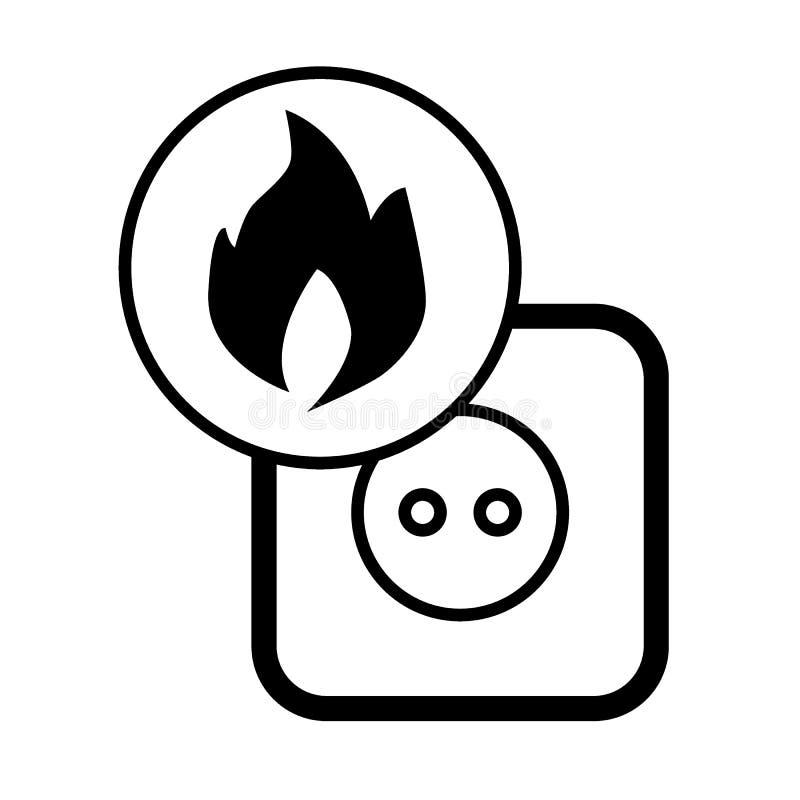 Il pericolo d'incendio nel sistema elettrico, rosetta, inforna l'icona solida Illustrazione di vettore isolata sul nero Stile di  royalty illustrazione gratis