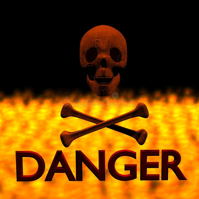 Il pericolo del cranio con fuoco royalty illustrazione gratis