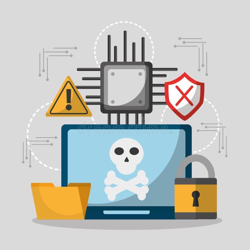 Il pericolo del pirata informatico di segretezza del computer portatile illustrazione vettoriale