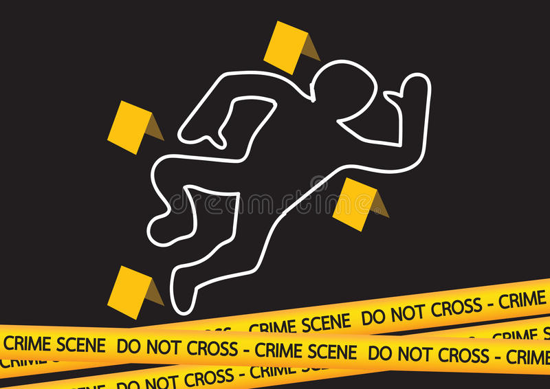 Il pericolo della scena del crimine lega l'illustrazione con un nastro royalty illustrazione gratis