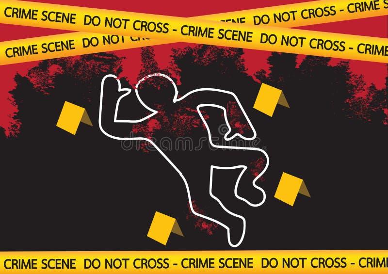 Il pericolo della scena del crimine lega l'illustrazione con un nastro illustrazione vettoriale