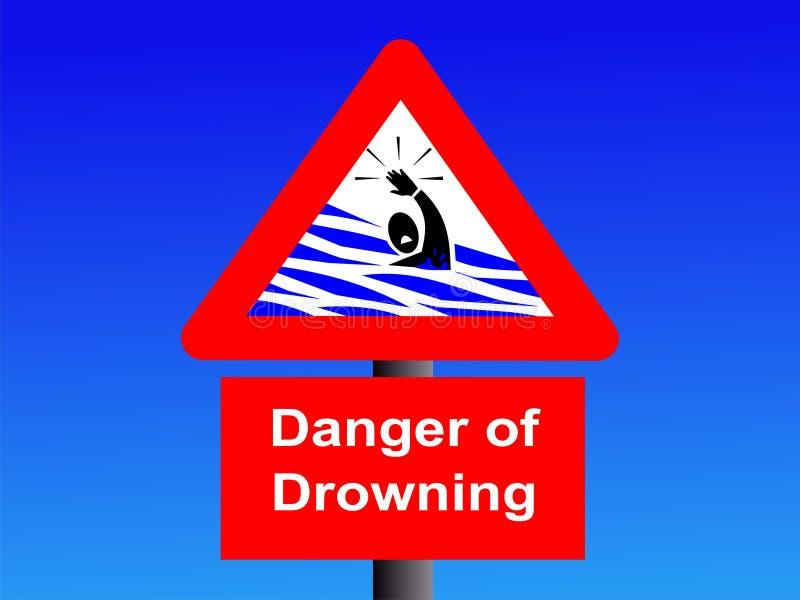 Il pericolo di annegamento del segno illustrazione di stock