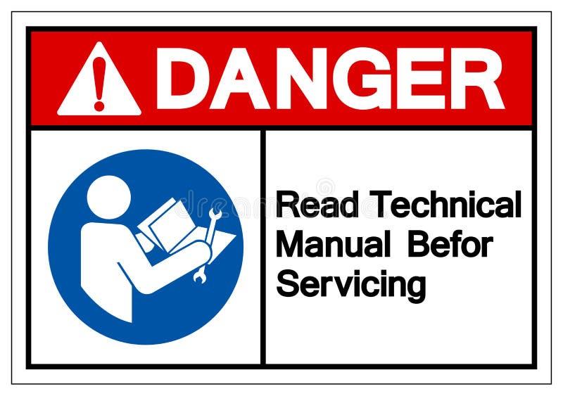 Il pericolo ha letto il manuale tecnico prima dell'assistenza del segno di simbolo, illustrazione di vettore, isolato sull'etiche illustrazione vettoriale